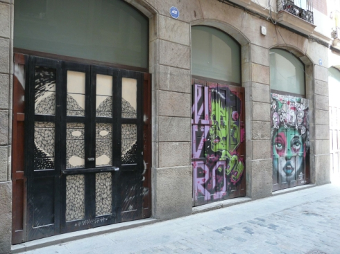 Cartoons and other characters on blinds in Barcelona